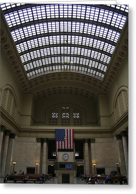 Skylit Chicago Union Station  Greeting Card by Christopher Kirby