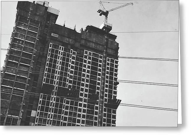 Skyscraper Under Construction Greeting Card by Sirikorn Techatraibhop
