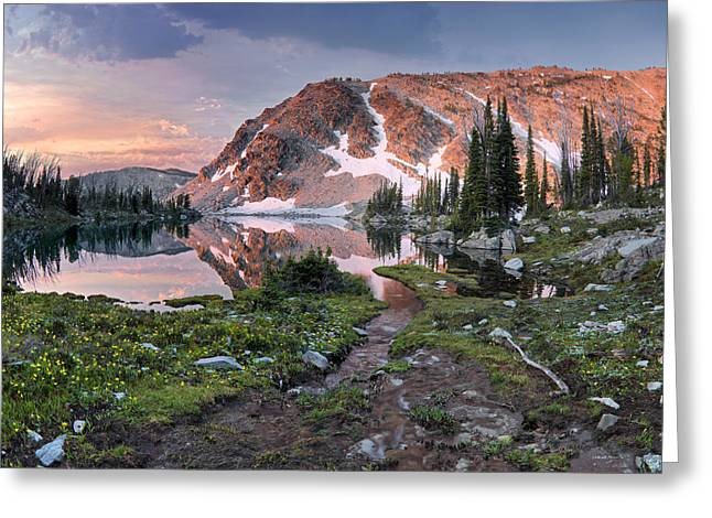 Skytop Lake Sunrise Greeting Card by Leland D Howard