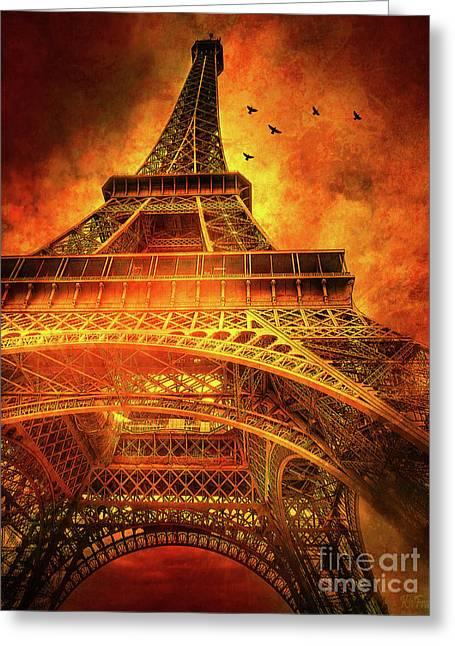 Skyward Dramatic Eiffel Tower Greeting Card