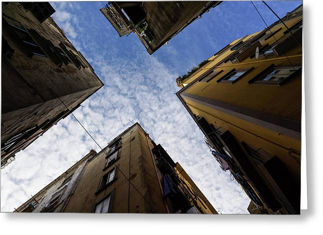 Skyward In Naples Italy - Spanish Quarters Take Three Greeting Card