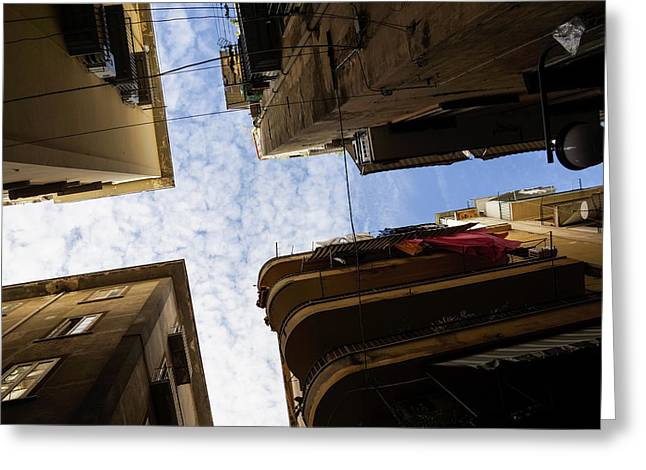 Skyward In Naples Italy - Spanish Quarters Take Two Greeting Card