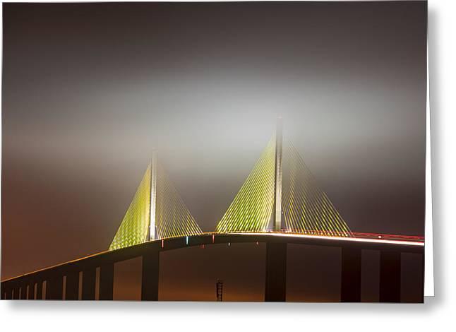 Skyway In Fog Greeting Card