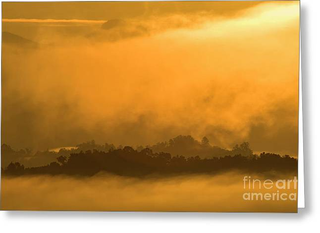 Greeting Card featuring the photograph sland in the Mist - D009994 by Daniel Dempster