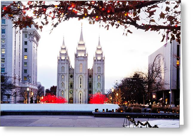 Utah Temples Greeting Cards - SLC Temple Red and White Greeting Card by La Rae  Roberts