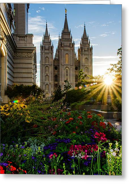 Salt Lake Temple Greeting Cards - SLC Temple Sunburst Greeting Card by La Rae  Roberts