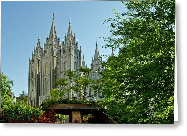 Slc Temple Trees Greeting Card