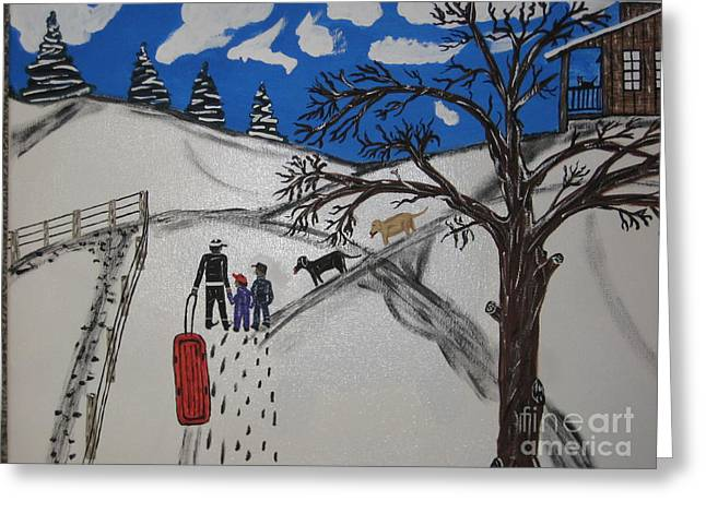 Greeting Card featuring the painting Sled Riding by Jeffrey Koss