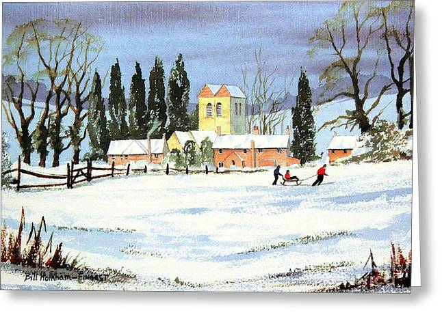 Sledding With Dad Greeting Card by Bill Holkham