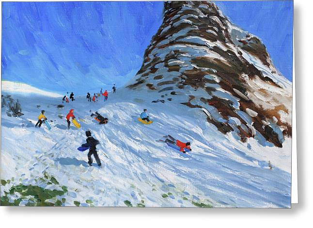 Sledging, Chrome Hill, Derbyshire, Peak District Greeting Card by Andrew Macara