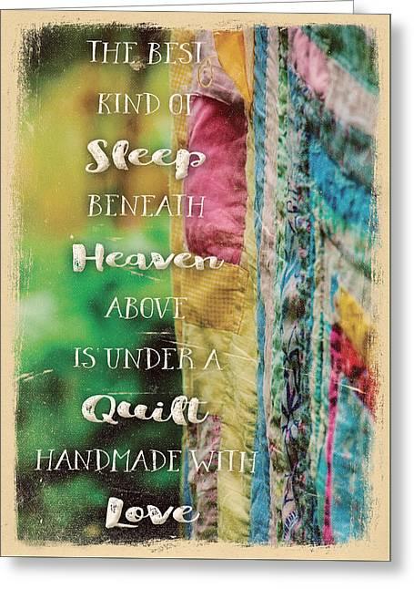 Sleep Beneath Heaven Above Quilt Greeting Card