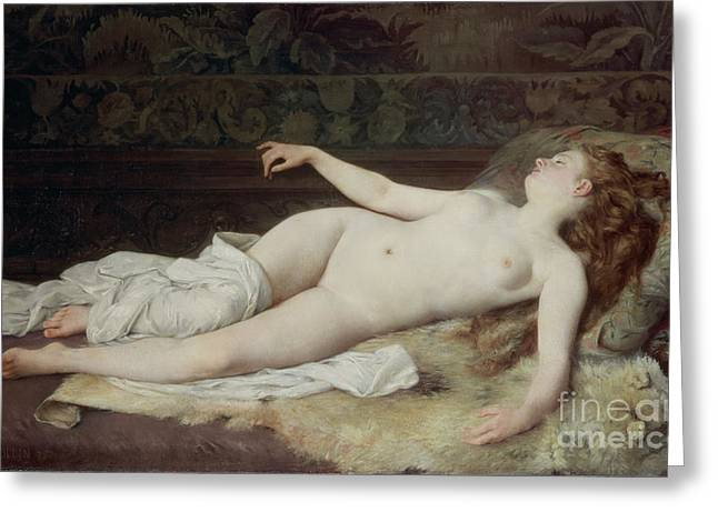 Figures Paintings Greeting Cards - Sleep Greeting Card by Louis Joseph Raphael Collin