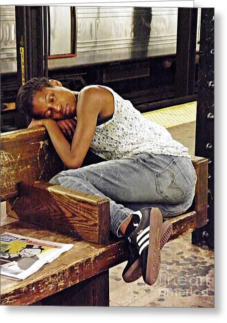 Sleeper On The Platform Greeting Card by Sarah Loft