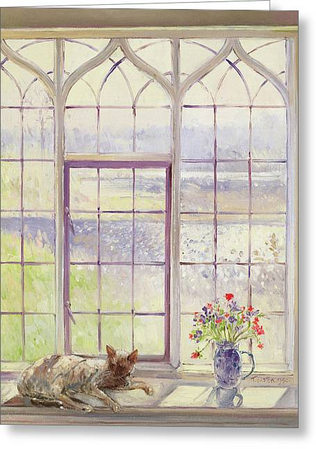 Sleeper With Anemones Greeting Card by Timothy Easton