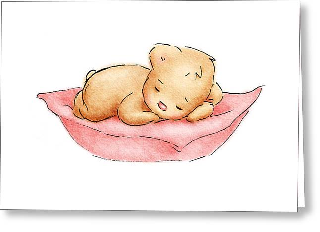 Sleeping Baby Bear Greeting Card by Anna Abramska