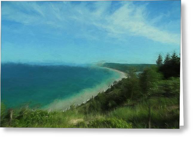 Sleeping Bear Dunes Oil Greeting Card by Dan Sproul