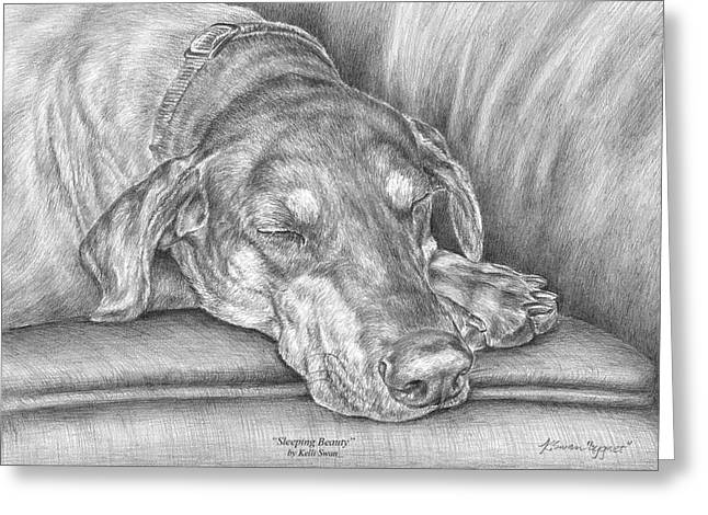 Kelly Greeting Cards - Sleeping Beauty - Doberman Pinscher Dog Art Print Greeting Card by Kelli Swan