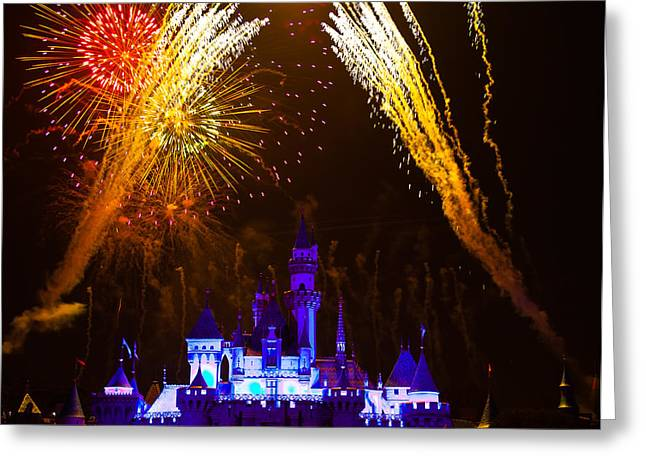 Sleeping Beauty Castle And Fireworks Greeting Card by Sam Amato