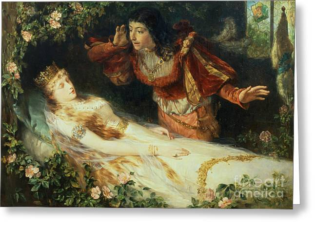 Book Illustrations Greeting Cards - Sleeping Beauty Greeting Card by Richard Eisermann