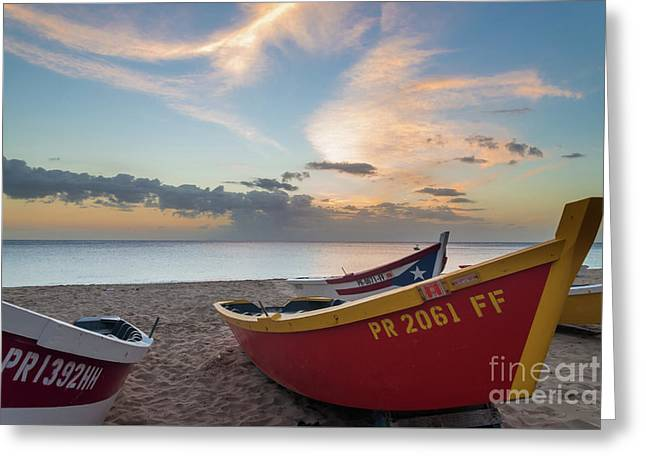 Sleeping Boats On The Beach Greeting Card