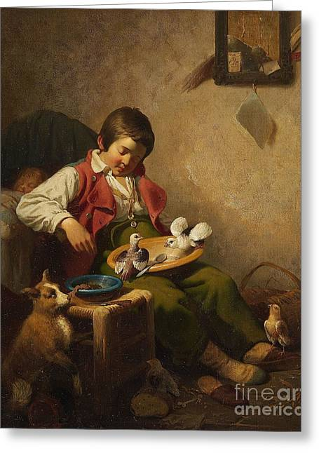 Sleeping Boy With Pidgeons And Dog Greeting Card by Celestial Images