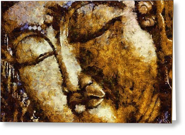 Sleeping Buddha By Sarah Kirk Greeting Card