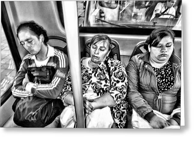 Sleeping Bus Riders Greeting Card by Daniel Gomez
