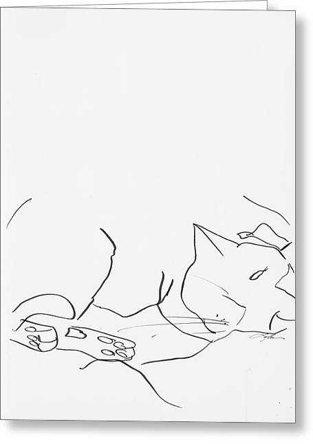 Sleeping Cat II Greeting Card