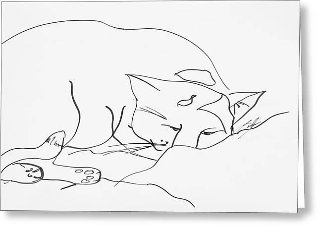 Sleeping Cat Greeting Card by Leela Payne