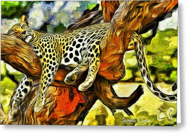 Sleeping Cheetah - Da Greeting Card