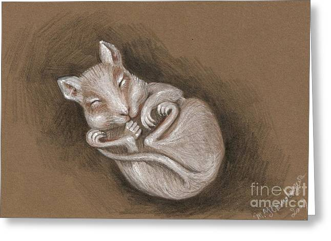 Sleeping Cutie Greeting Card by Margaryta Yermolayeva