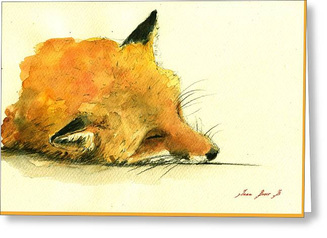 Sleeping Fox Greeting Card by Juan  Bosco