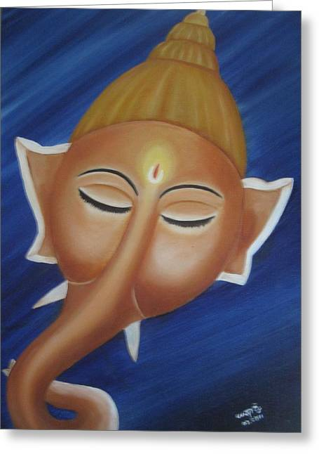 Sleeping Ganesha Greeting Card by Usha Rai
