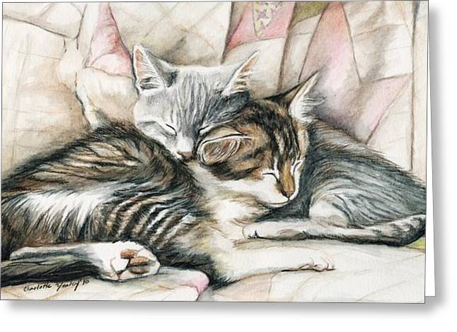 Sleeping Kittens Greeting Card by Charlotte Yealey