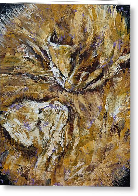 Sleeping Kittens Greeting Card by Michael Creese