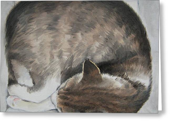 Sleeping Kitty Greeting Card by Jindra Noewi