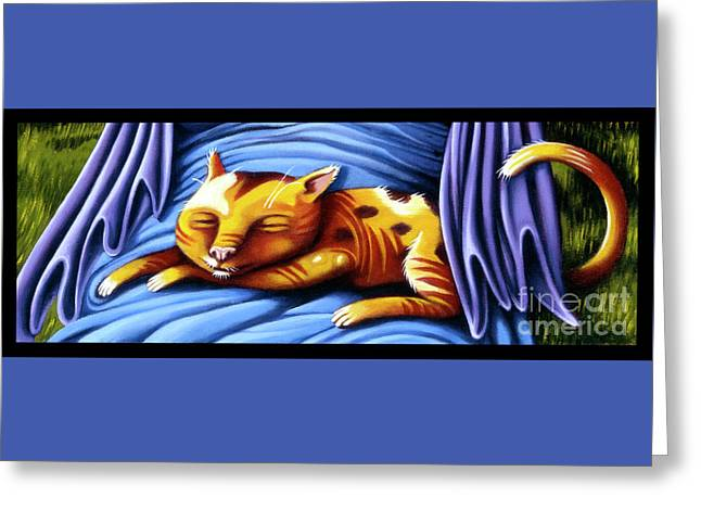 Greeting Card featuring the painting Sleeping Kitty by Valerie White