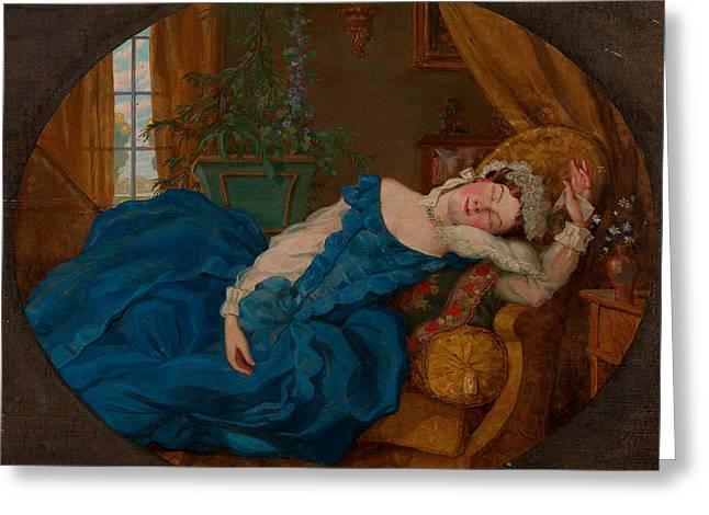 Sleeping Lady Greeting Card by Kontantin Somov