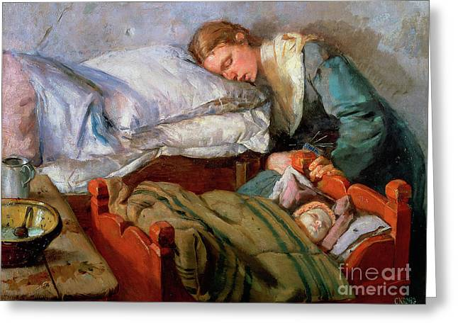 Sleeping Mother, 1883 Greeting Card by Christian Krohg