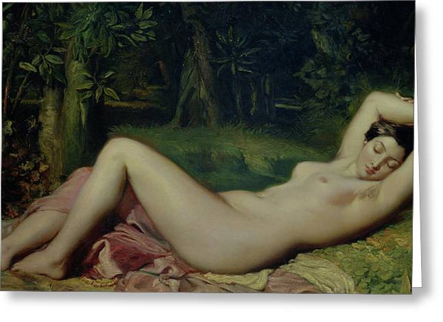 Recently Sold -  - Female Body Greeting Cards - Sleeping Nymph Greeting Card by Theodore Chasseriau