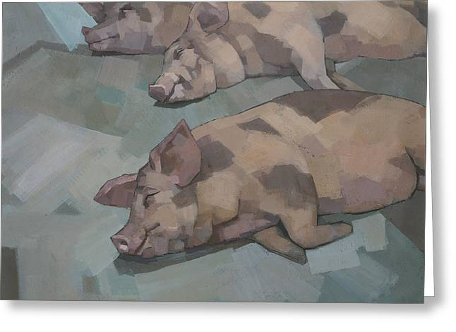 Greeting Card featuring the painting Sleeping Pigs by Steve Mitchell
