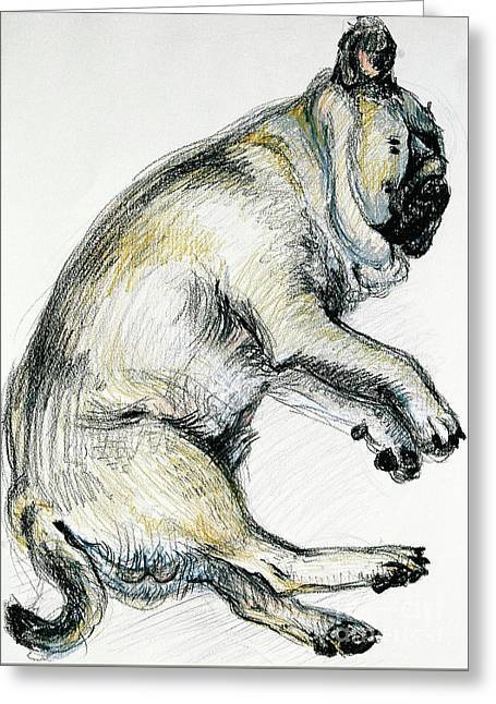 Sleeping Pug One Greeting Card by Joan Thewsey