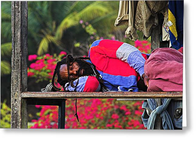 Sleeping Rasta-st Lucia Greeting Card by Chester Williams