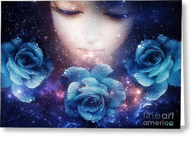 Greeting Card featuring the digital art Sleeping Rose by Mo T
