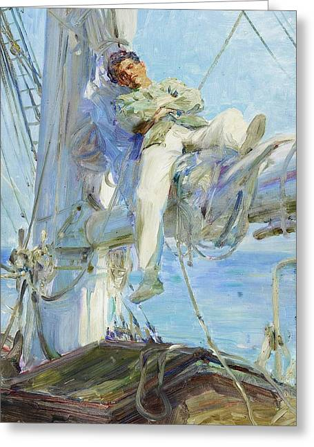 Tuke Greeting Cards - Sleeping Sailor Greeting Card by Pg Reproductions
