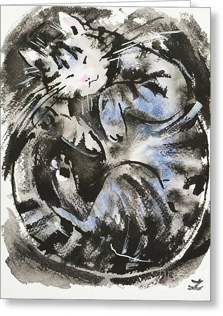Greeting Card featuring the painting Sleeping Tabby Cat by Zaira Dzhaubaeva