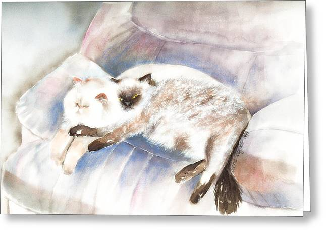 Sleeping Together Greeting Card by Arline Wagner