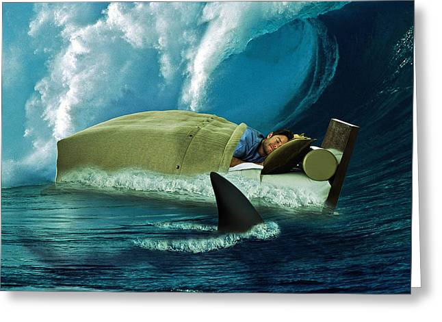 Sleeping With Sharks Greeting Card by Marian Voicu
