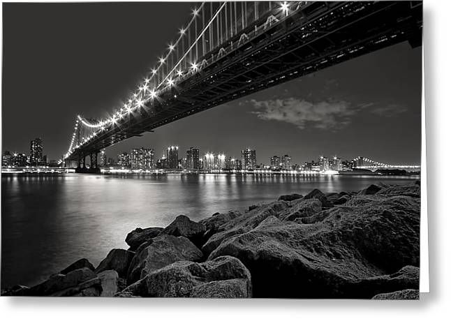 Bridge Greeting Cards - Sleepless Nights And City Lights Greeting Card by Evelina Kremsdorf