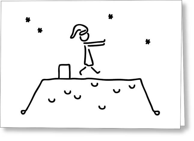 Sleepwalker At Night On House Roof Sleep Greeting Card by Lineamentum